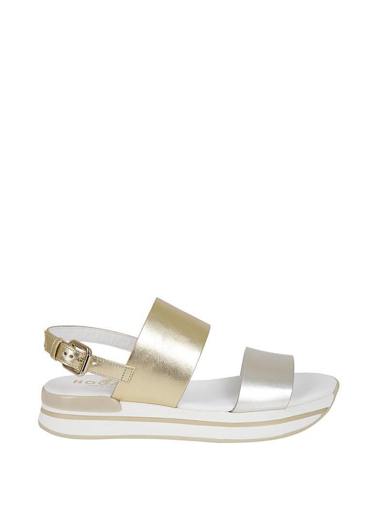 Hogan H257 Platform Sandals In Oro-argento