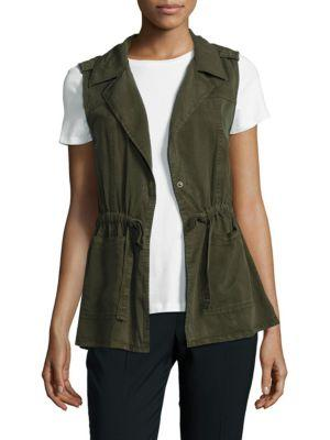 Sanctuary Anoraq Tie-detail Vest In Olive