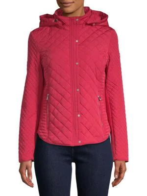Calvin Klein Quilted Hooded Jacket In Berry