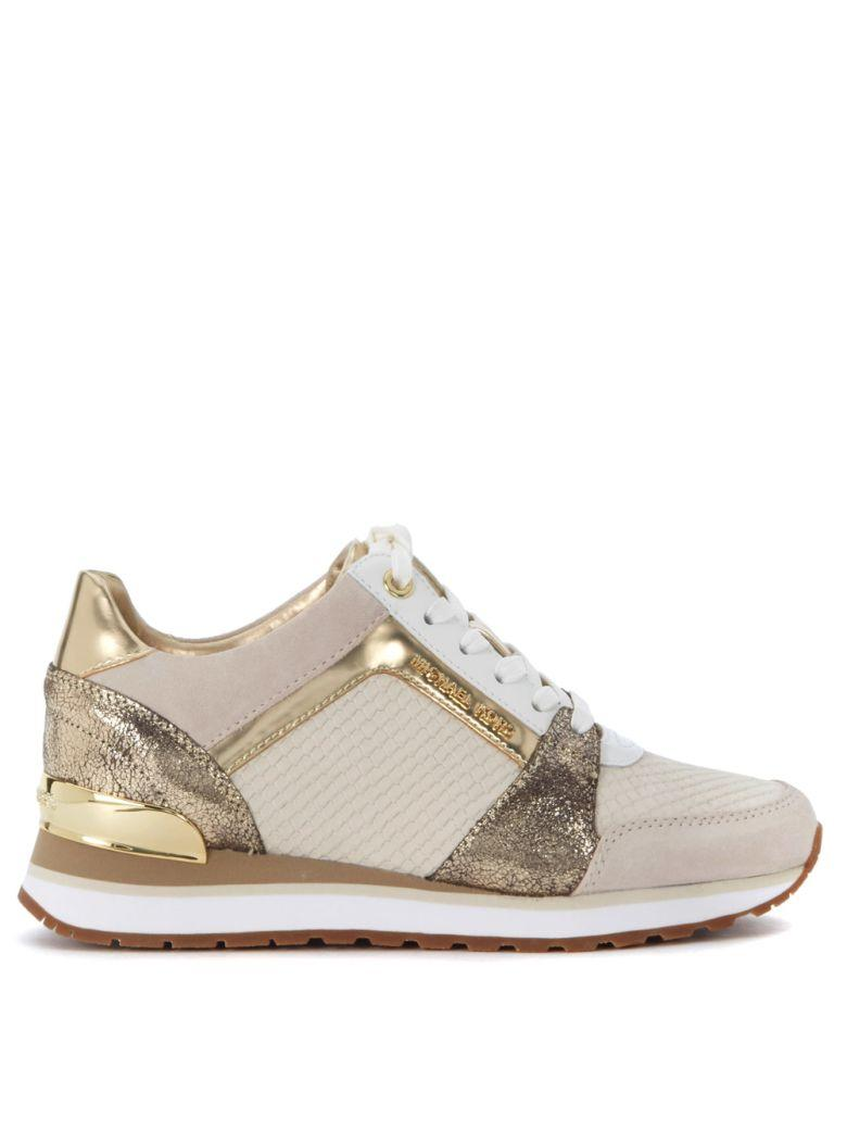 Michael Kors Billie Beige And Gold Leather Sneaker In Oro