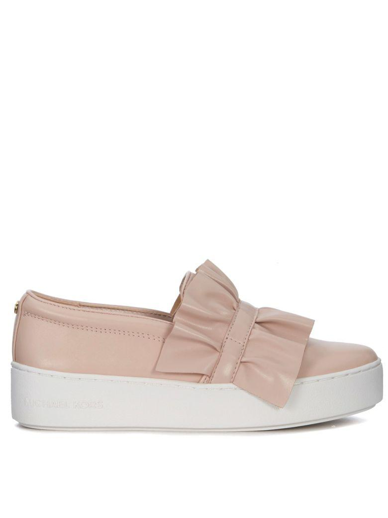 Michael Kors Bella Pink Leather Slip On With Rouches In Rosa