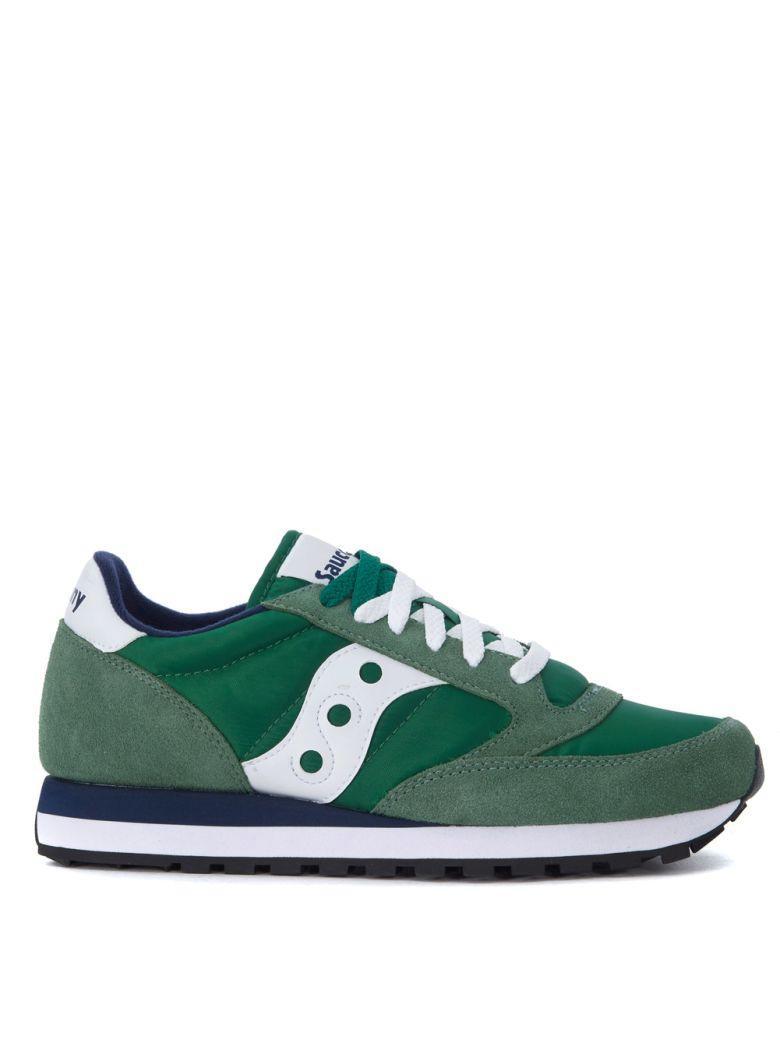 Saucony Jazz Green Suede And Nylon Sneakers In Verde