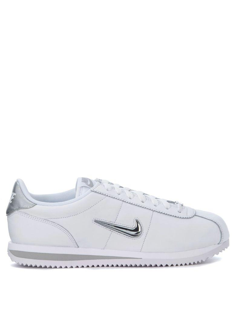 best website 2aeaf 3167e Cortez Basic Jewel White And Silver Leather Sneakers in Bianco