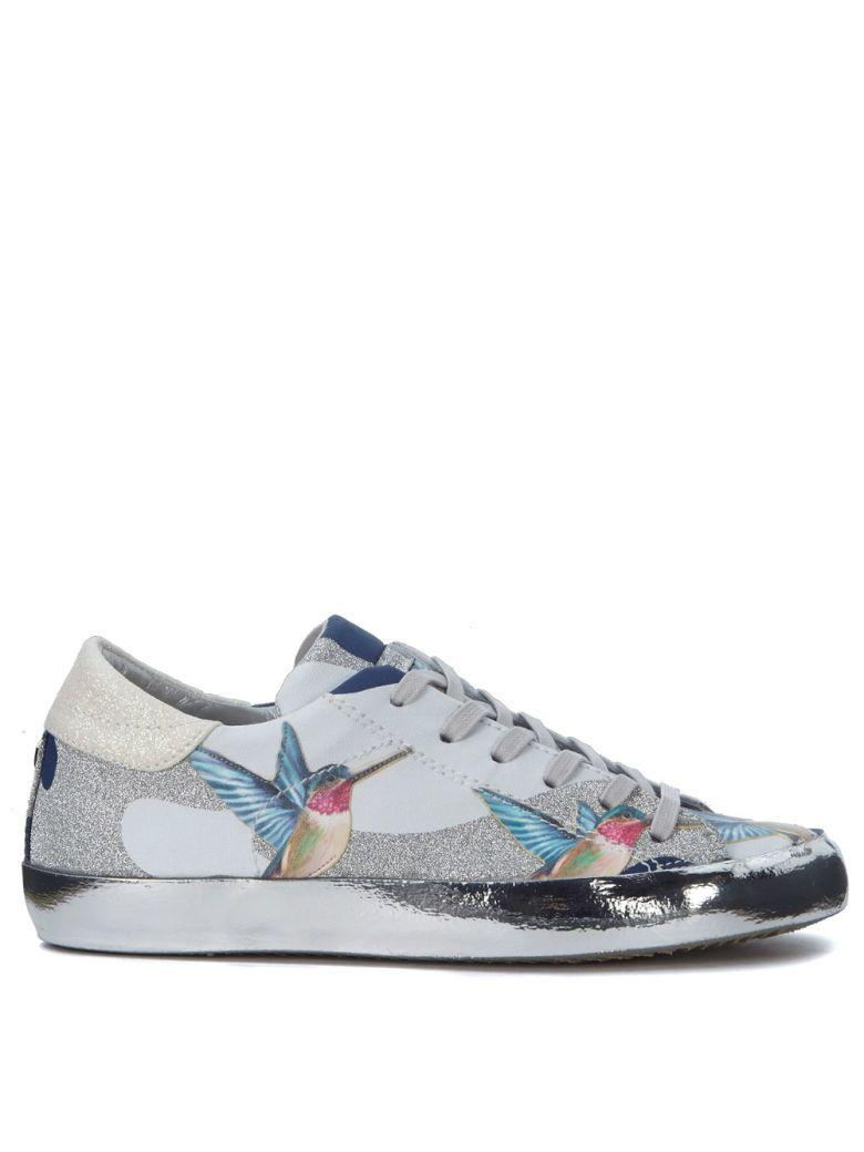 Philippe Model Paris Tropical Leather Sneakers With Hummingbirds And Glitters In Argento