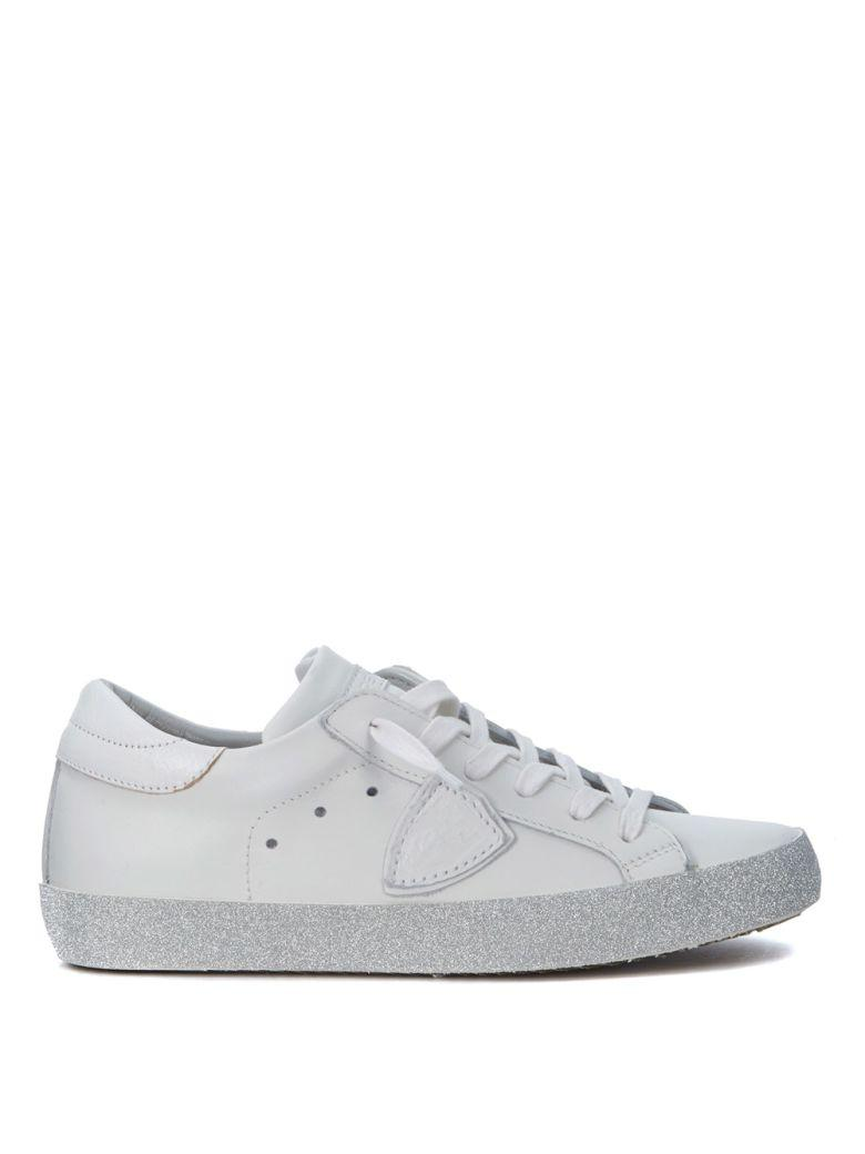 Philippe Model Paris White Leather And Glitter Sneaker In Bianco