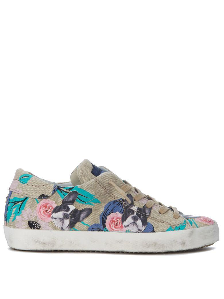Philippe Model Paris Beige Sneakers With Flowers And Dogs