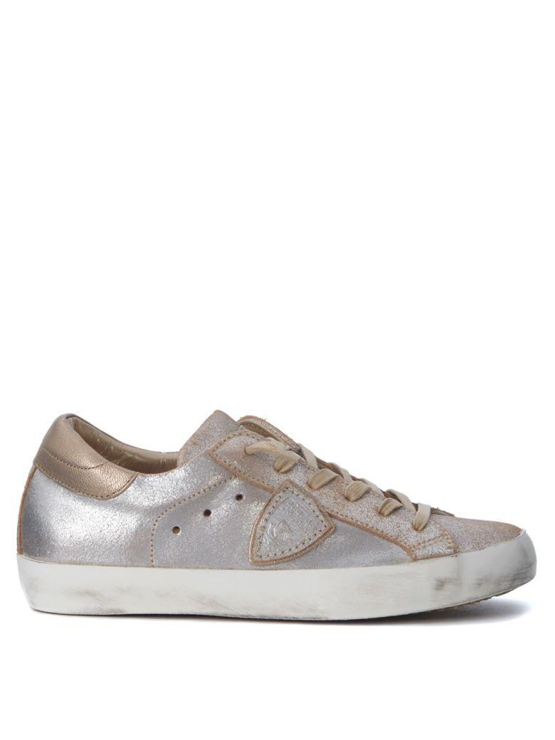 Philippe Model Paris Sneaker In Pale Pink And Gold Laminated Leather In Oro