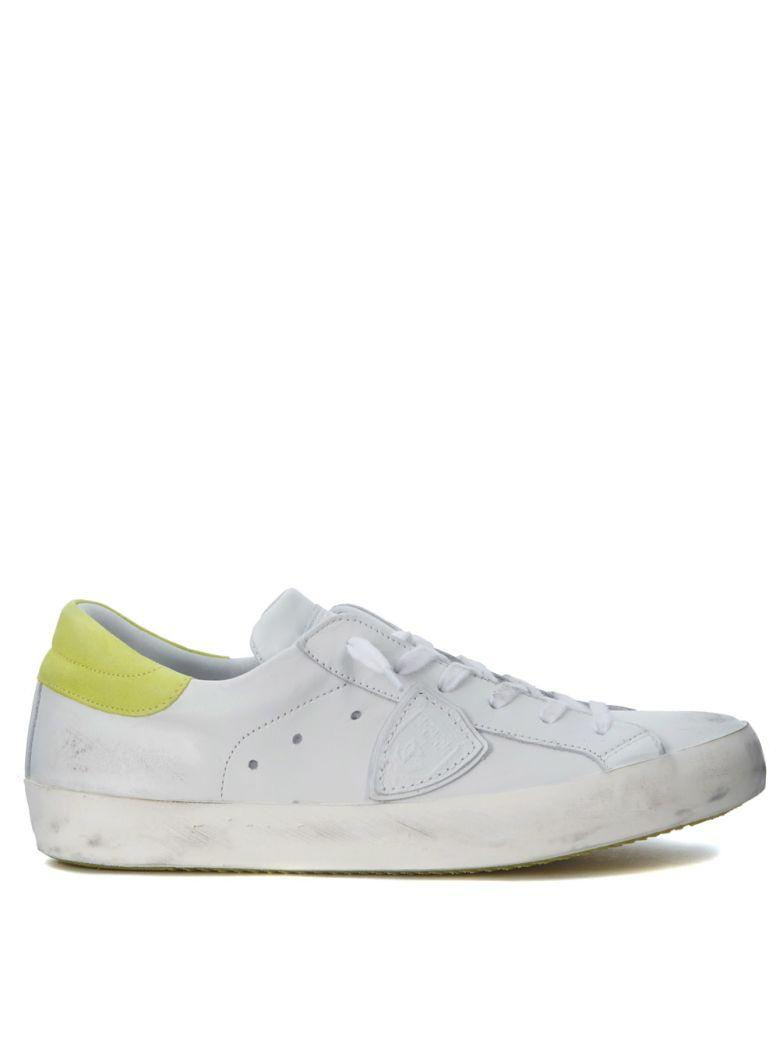 Philippe Model Paris White And Fluo Yellow Leather Sneakers In Bianco