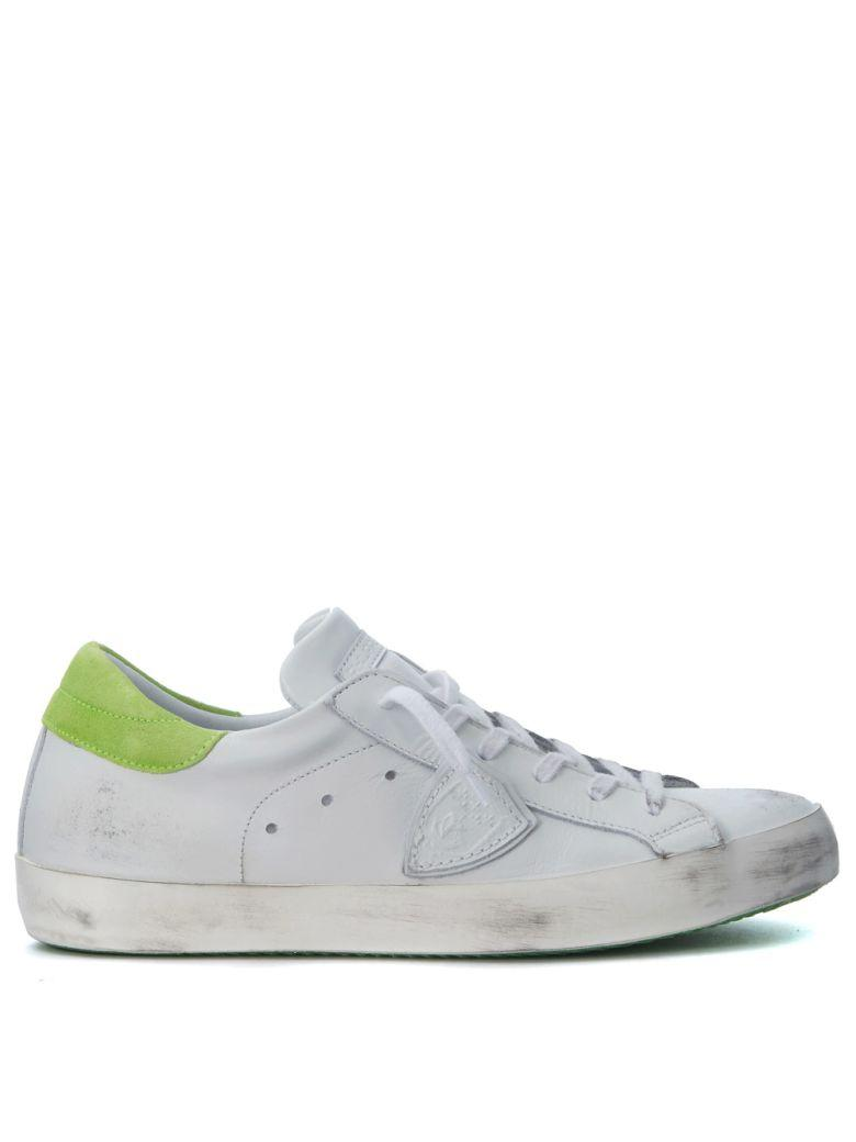 Philippe Model Paris White And Fluo Green Leather Sneakers In Bianco