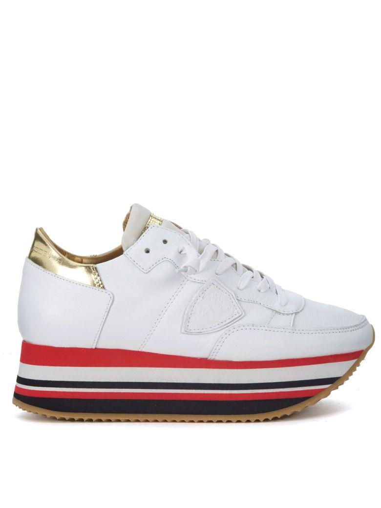 Philippe Model Eiffel White And Golden Leather Sneaker In Bianco