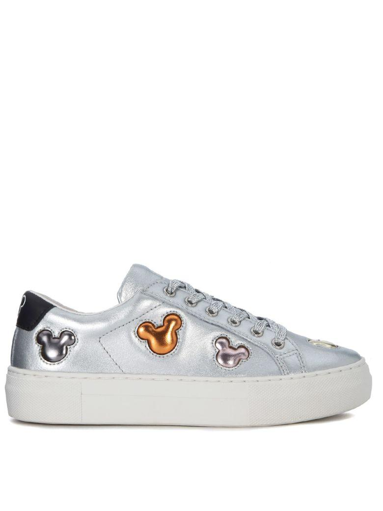 M.o.a. Master Of Arts Moa Mickey Mouse Multicolor And Silver Leather Sneaker In Argento