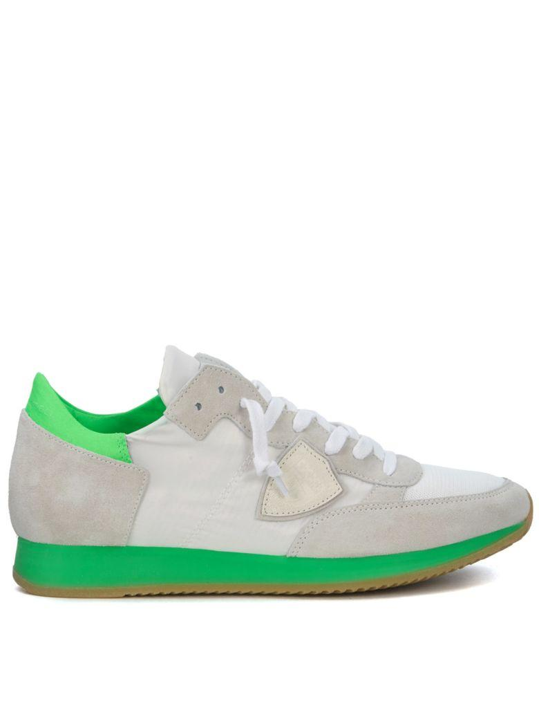 Philippe Model Tropez White And Green Fluo Sneaker In Bianco