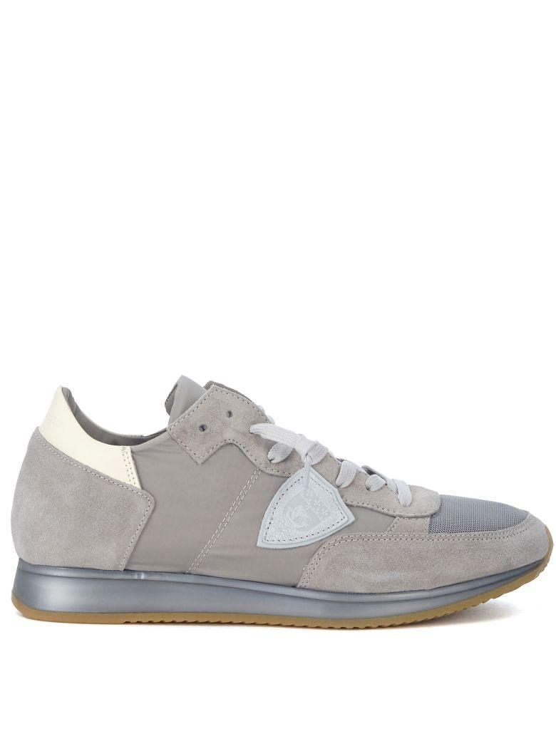 Philippe Model Tropez Grey Suede And Fabric Sneaker In Grigio