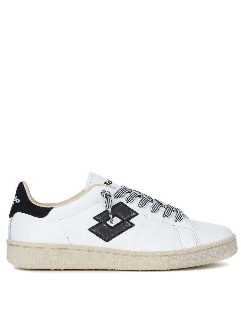 Lotto Leggenda Autograph Black And White Leather Sneaker In Bianco