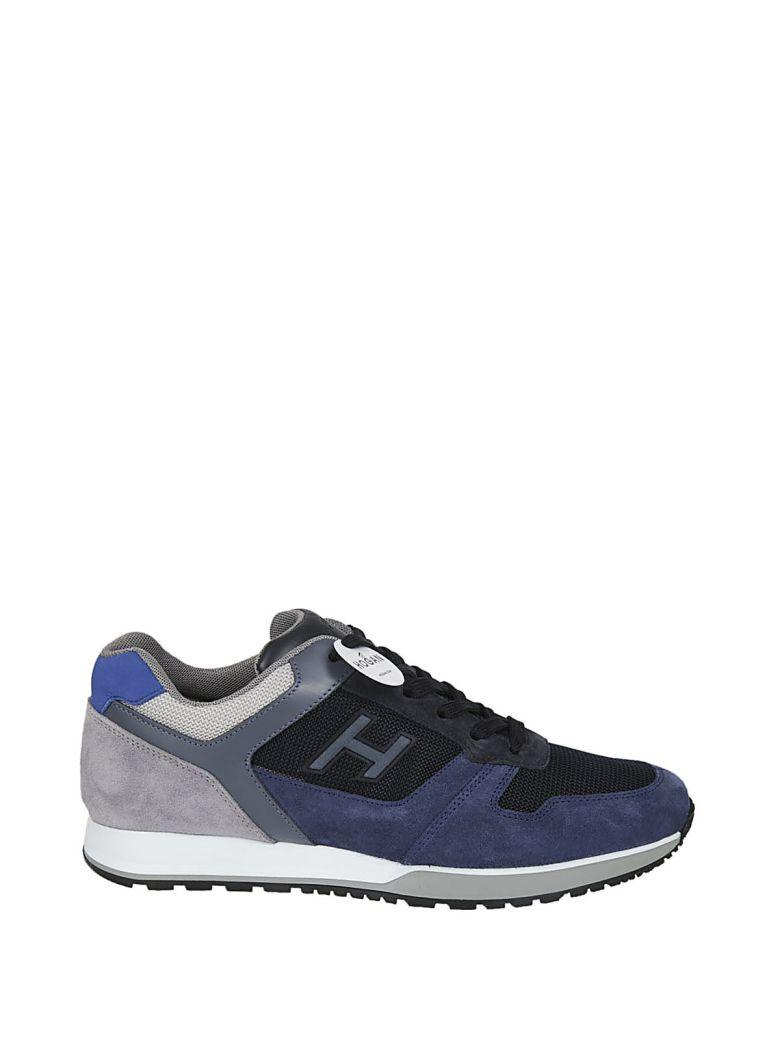Hogan H321 In Blue And Grey Suede And Leather Sneaker In Denim-blu