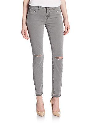 J Brand 811 Mid-rise Distressed Skinny Jeans In Silver Fox
