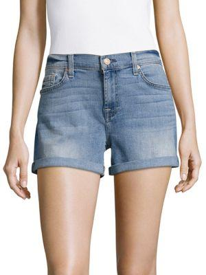 7 For All Mankind Mid-waist Rolled-cuff Shorts In Eloise