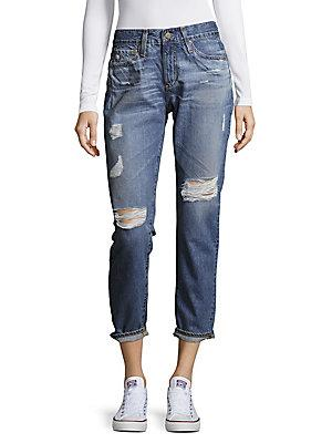 Ag Distressed Cropped Cotton Denim Pants In Sixteen Years