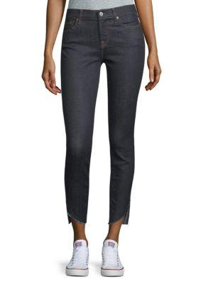7 For All Mankind Raw-hem Skinny Ankle Jeans In New York Rinse