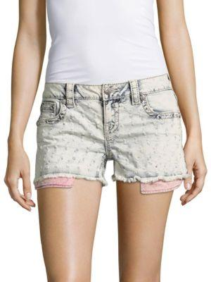 Miss Me Patterned Frayed Shorts In Light Blue