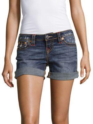 True Religion Distressed Roll Cuff Midi Shorts In Blue