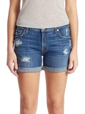 7 For All Mankind Rolled-cuff Distressed Five-pocket Shorts In Barrier Reef