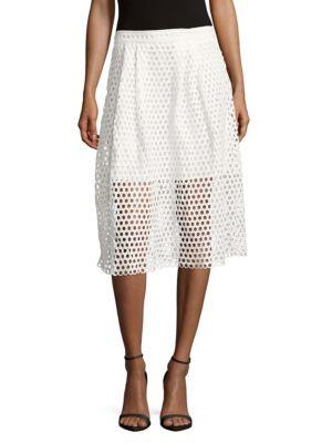 Zero Degrees Celsius Perforated Zipped Skirt In White
