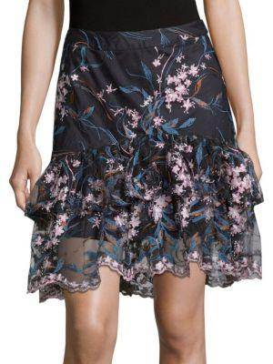 Nanette Lepore Floral Embroidered Tiered Skirt In Navy Multi