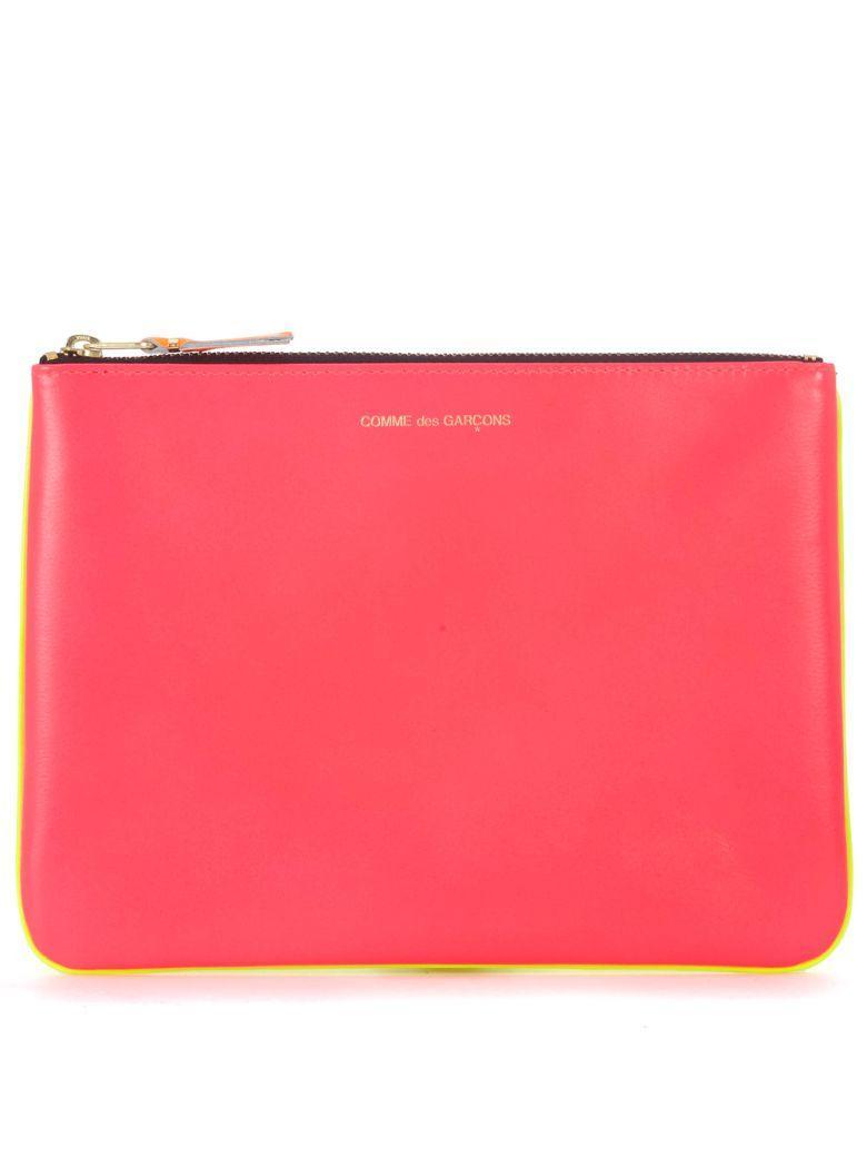 Comme Des GarÇons Bustina  Wallet In Pelle Rosa E Gialla Fluo In Multicolor