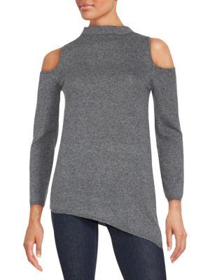 Zero Degrees Celsius Cold Shoulders Ribbed Sweater In Dark Grey