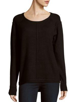 French Connection Soft Roundneck Ribbed Sweater In Black