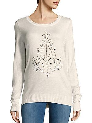 Saks Fifth Avenue Sequin Chandelier Sweater In Heather Oatmeal