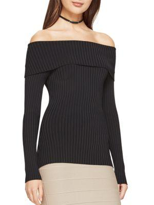 Bcbgmaxazria Risa Long- Sleeve Ribbed Sweater In Black
