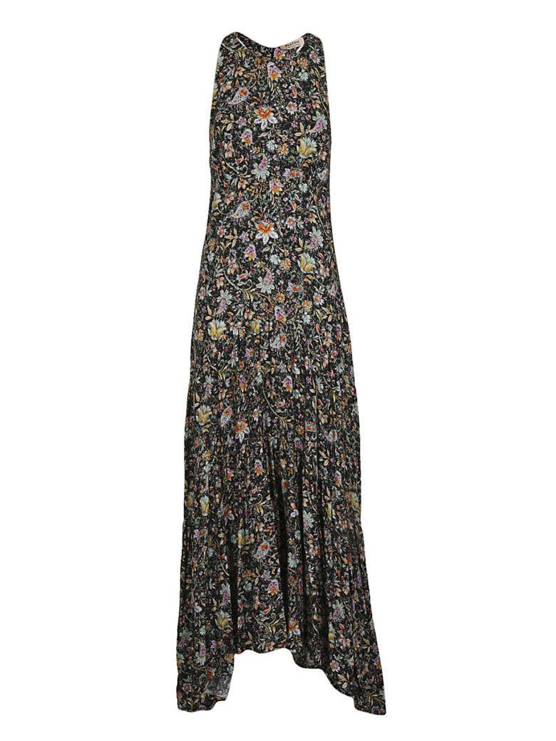 Black Coral Floral Long Dress In Black