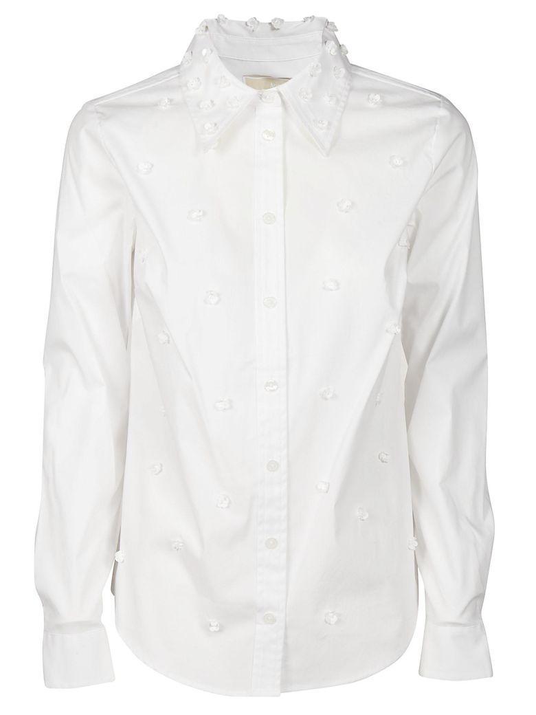 Michael Kors Michael  Floral Embellishment Shirt In White