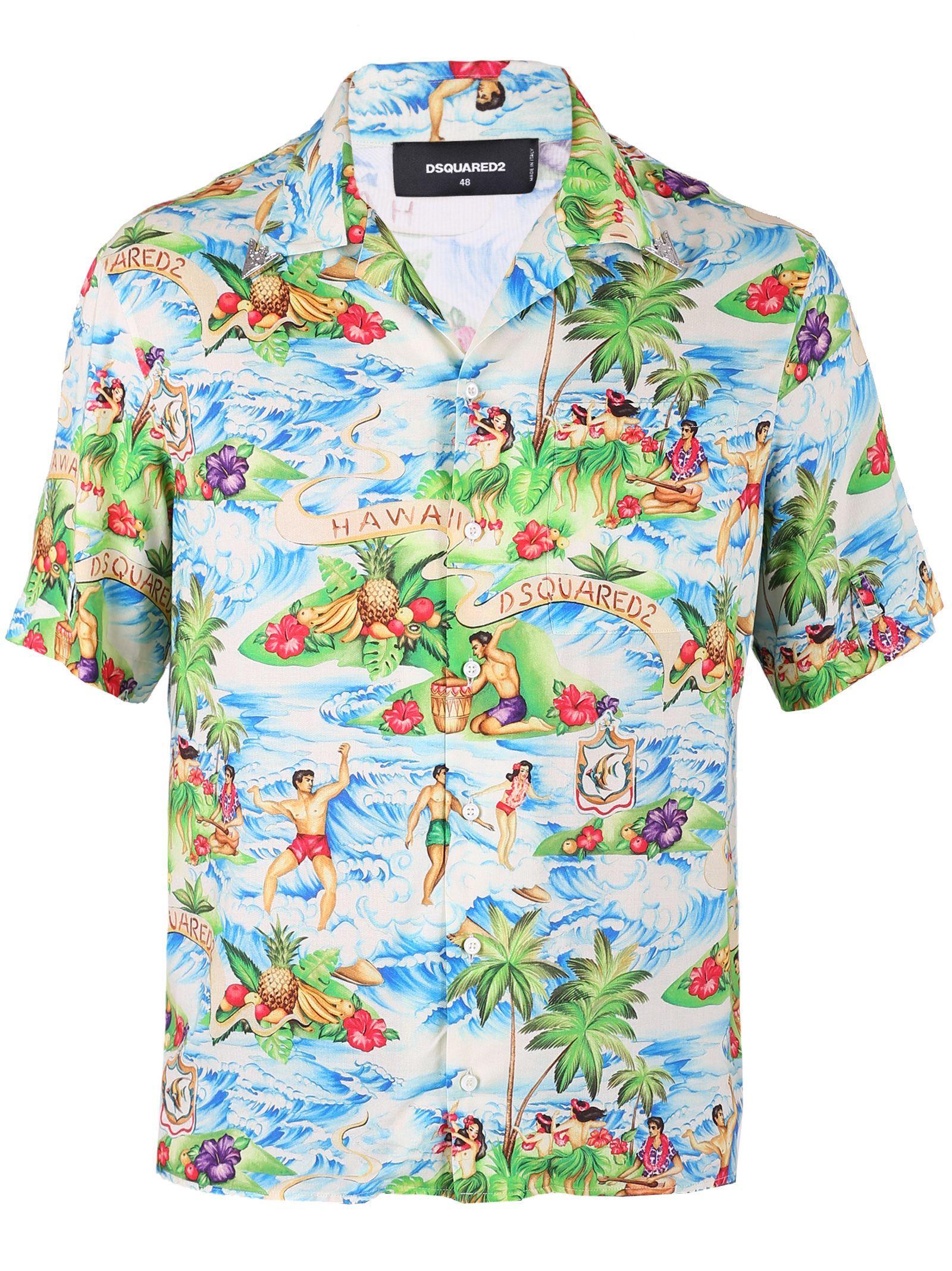 Dsquared2 Printed Viscose Shirt In Multi