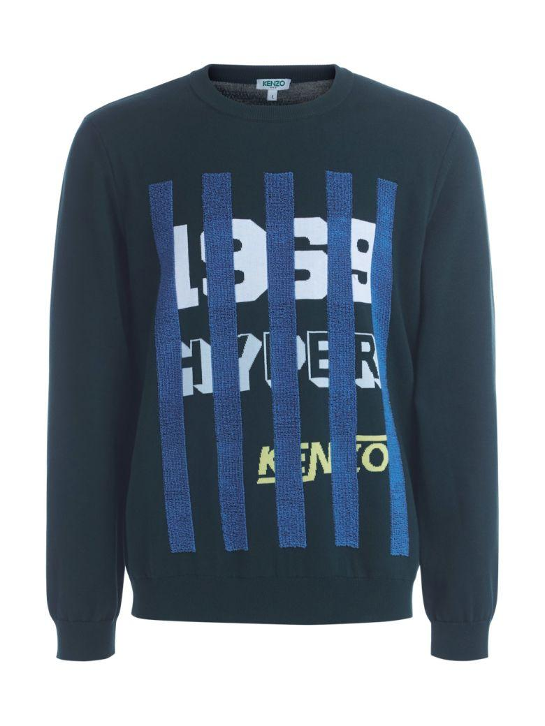 Kenzo Green Sweater With White Graphic And Light-blue Stripes In Verde