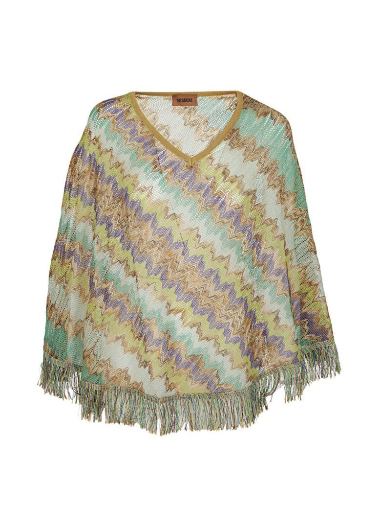 Missoni Striped Poncho In Verde-viola-corda