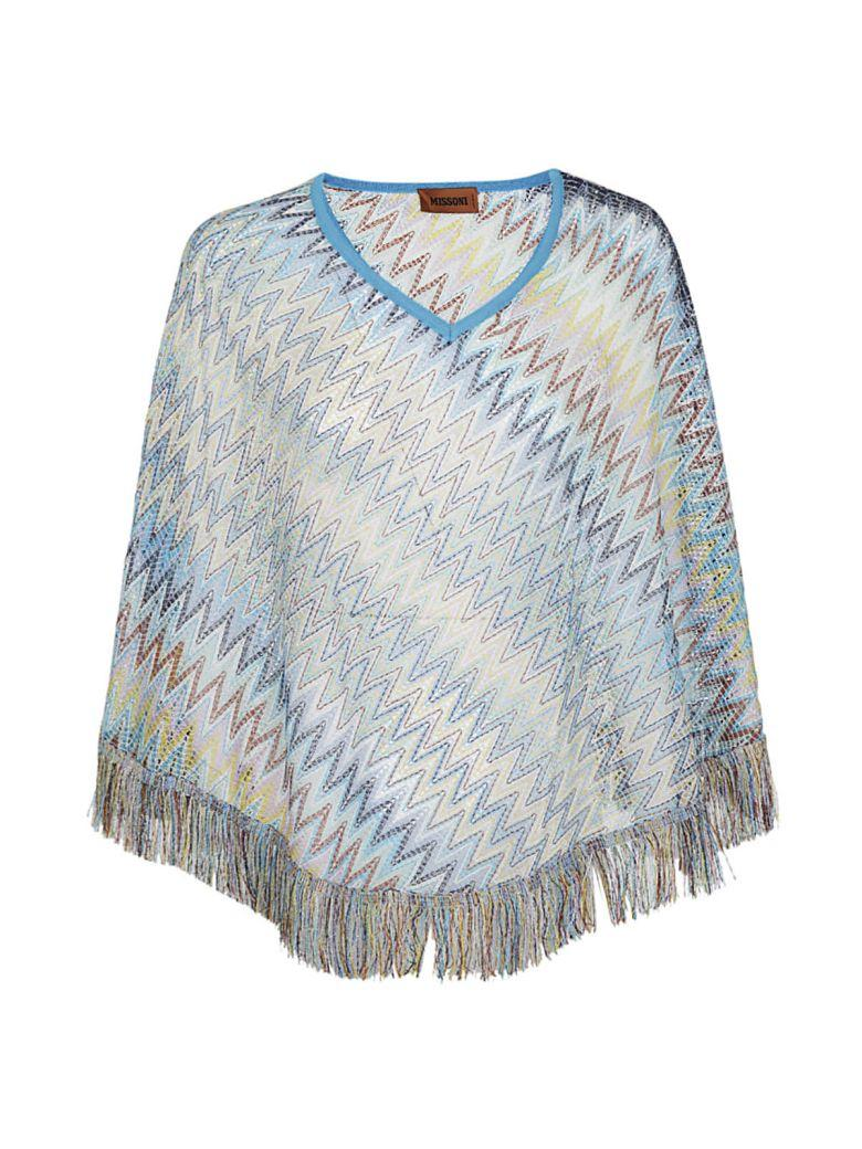 Missoni Patterned Poncho In Turchese