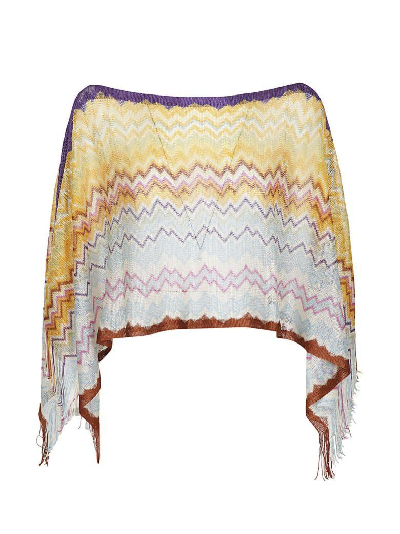 Missoni Knitted Poncho In Giallo-viola