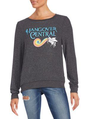 Wildfox Hangover Central Graphic Sweatshirt In Dirty Black