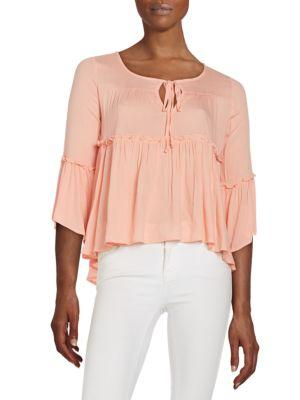 Romeo & Juliet Couture Bell Sleeve Babydoll Top In Blush