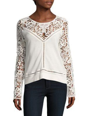 Zero Degrees Celsius Lace Pullover Sweatshirt In Ivory