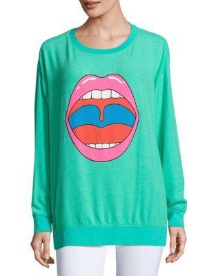 Wildfox Lip Graphic Sweatshirt In Mint Chip
