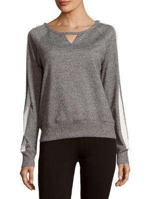 X By Gottex Boatneck Cotton-blend Pullover In Heather Grey