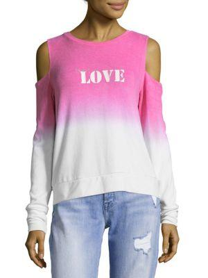 Peace Love World Ombre Cold Shoulder Top In Cabaret