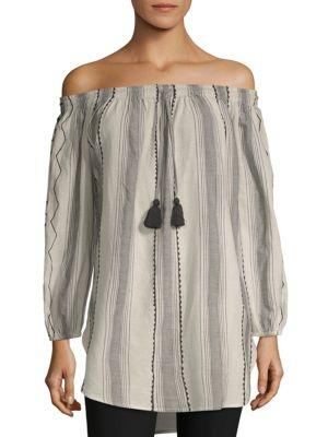 Saks Fifth Avenue Striped Off-the-shoulder Cotton Top In Black Multi