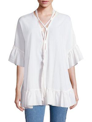 ChloÉ Crepe Tie Bell Sleeve Tunic In White