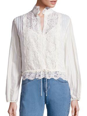 See By ChloÉ Cotton Lace Blouse In Navy