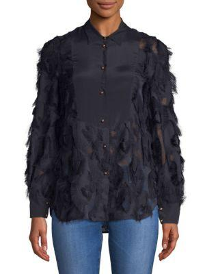 ChloÉ Fringed Long-sleeve Top In Abyss Blue